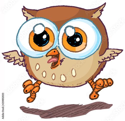 Cute Vector Cartoon Owl Mascot Jumping and Hooting