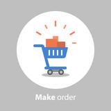 Make order, full shopping cart, loyalty program, flat icon - 204813873