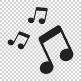 Music note icon in flat style. Sound media illustration on isolated transparent background. Audio note business concept. - 204818602