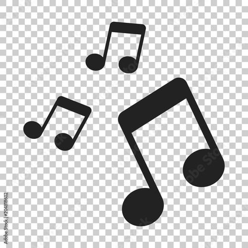 Fototapeta Music note icon in flat style. Sound media illustration on isolated transparent background. Audio note business concept.