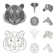 Tiger, lion, elephant, zebra, Realistic animals set collection icons in outline,monochrome style vector symbol stock illustration web.