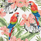 Red macaw parrots and green banana palm leaves, flowers background. Vector floral seamless pattern. Tropical jungle foliage illustration. Exotic plants greenery. Summer beach design. Paradise nature.