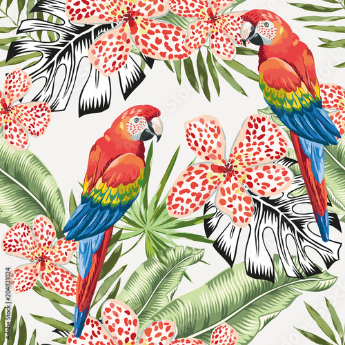 Red macaw parrots and green banana palm leaves, flowers background. Vector floral seamless pattern. Tropical jungle foliage illustration. Exotic plants greenery. Summer beach design. Paradise nature. - 204821024