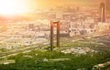 Dubai skyline with Dubai Frame building at sunset - 204822497