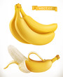 Bananas. Fresh fruit 3d realistic vector icon