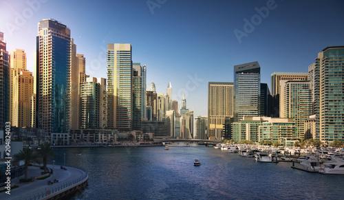 Dubai Marina at sunset. UAE