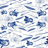 Big iris flowers . Floral vector seamless pattern with hand drawn  flowers and leaves.