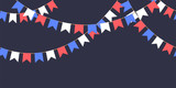 Seamless garland with celebration flags chain, white, blue, red pennons on dark background, footer and banner for decoration - 204828425