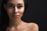 Close up portrait of lady with heathy skin tone looking at camera with calmness. Copy space in right side. Isolated on background - 204828895