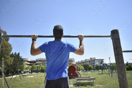 Young Man Doing Training Exercises