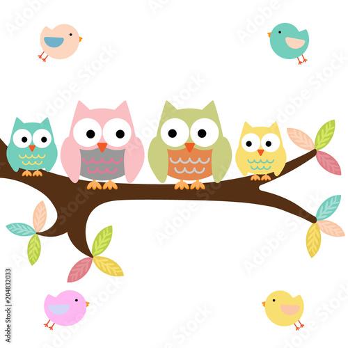 Fotobehang Uilen cartoon Four owls on a branch with birds