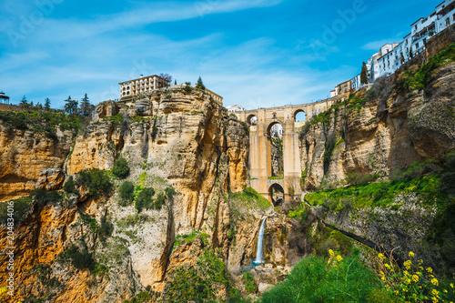 the famous stone bridge over the gorge of tajo in Ronda, Andalusia, Spain