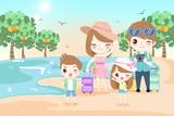 happy family on the beach - 204842088