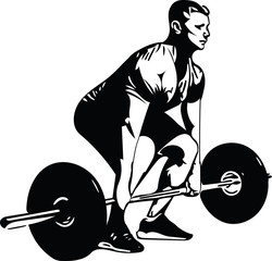 weightlift workout at the gym with barbell