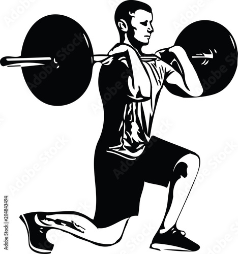 Fototapeta weightlift workout at the gym with barbell