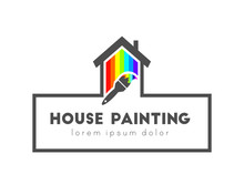 House Painting Logo Concept  Paintbrush House Made Of Color Spectrum Sticker