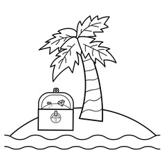 Coloring page for kids. Treasure Island with treasure chest and palm. Vector illustration