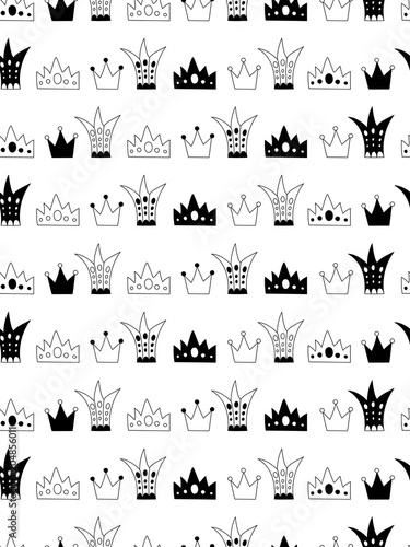 Scandinavian style abstract seamless pattern with crowns. - 204856011