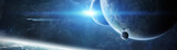 Panoramic view of planets in distant solar system 3D rendering elements of this image furnished by NASA - 204862057