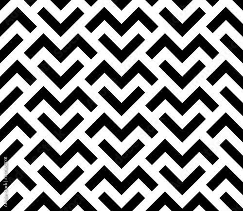 Fototapeta Abstract geometric pattern with stripes, lines. Seamless vector background. White and black ornament. Simple lattice graphic design