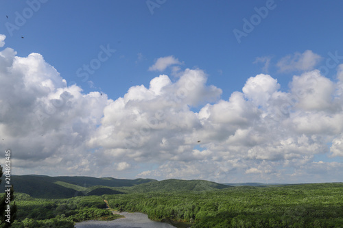 Fotobehang Donkergrijs River, forest, boats and blue sky