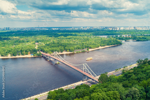 Aluminium Kiev Skyline, Kiev city with beautiful sky. Left bank the Dnieper River. Pedestrian bridge