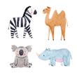 Watercolor animal vector set