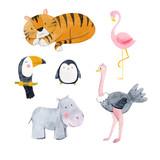 Watercolor animal vector set