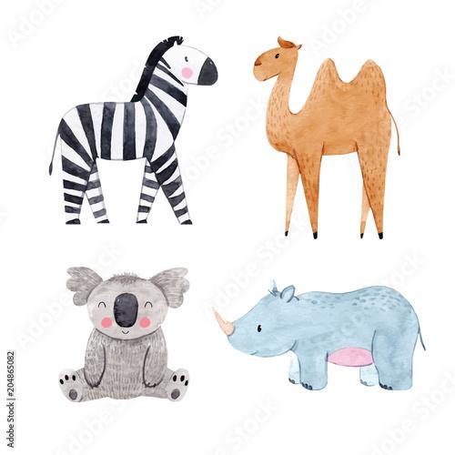 Fototapeta Watercolor animal vector set