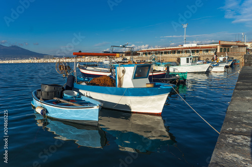 Fotobehang Napels Castellammare di Stabia, gulf of Naples, Italy - fishermen boats in the blue sea