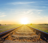 railway leaving far on a sunset background - 204865451