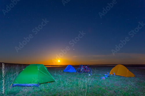 touristic camp at the night