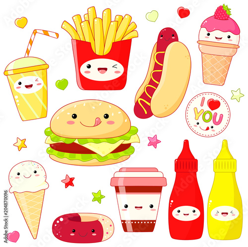 Set of cute food icons in kawaii style - 204870096