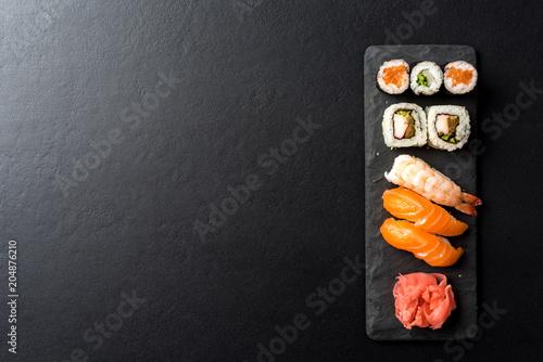 Aluminium Sushi bar Set of Japanese sushi.