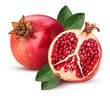 Quadro Ripe pomegranate fruit and one cut in half with leaf