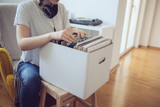 Close up of audiophile searching through vinyl records - 204878696