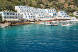Scenic village of Loutro and the mediterranean sea  in Crete, Greece - 204878808