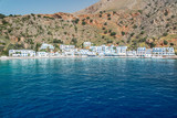 Scenic village of Loutro and the mediterranean sea  in Crete, Greece - 204879062