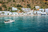 Scenic village of Loutro and the mediterranean sea  in Crete, Greece - 204879406
