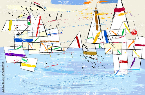 Fotobehang Abstract met Penseelstreken Abstract, modern art inspired illustration of sailboats, vector format.