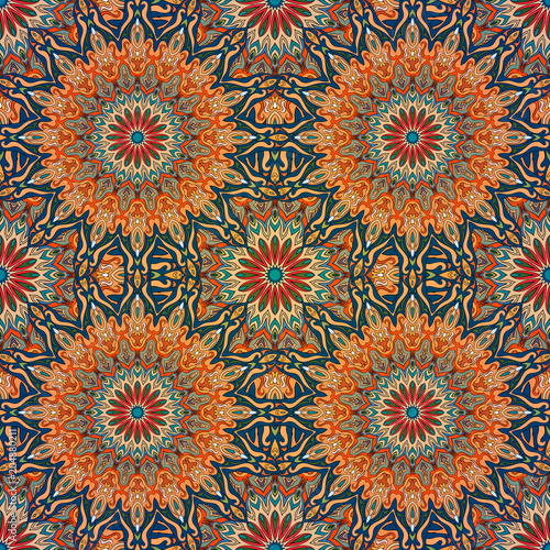 Cotton fabric Seamless pattern mandala ornament. Vintage decorative elements. Hand drawn oriental background.