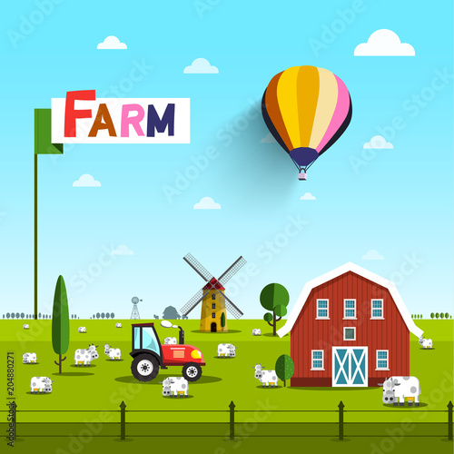Aluminium Boerderij Farm with Cows, Tractor, Windmill and Barn. Rural Vector Landscape with Blue Sky above Green Field.