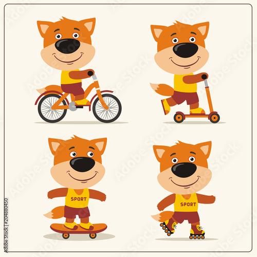 Fototapeta Set of isolated funny fox on bike, skateboard, scooter and roller skates.