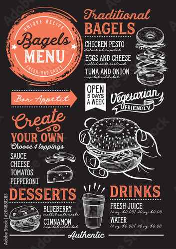 Fototapeta Bagels restaurant menu. Vector sandwich food flyer for bar and cafe. Design template with vintage hand-drawn illustrations.