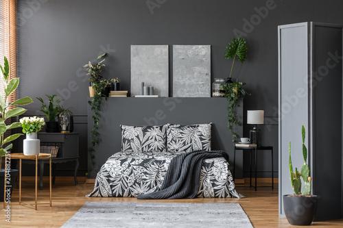 Black bedding in stylish interior - 204882251