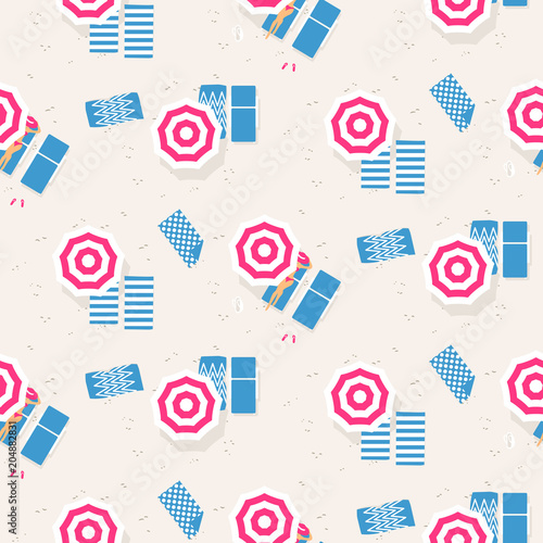 Materiał do szycia Beach top view seamless vector pattern. Retro style riviera umbrellas on sand beach background.