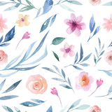 Watercolor floral pattern. Seamless pattern with purple, gold and pink bouquet on white background. Flowers, roses, peonies and leaves - 204885869