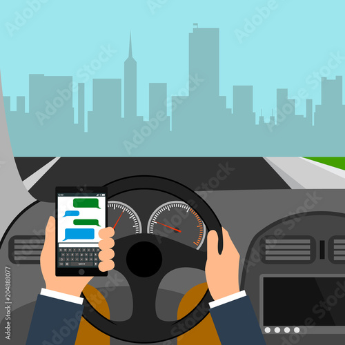 Fotobehang Auto Man using smartphone while driving the car, traffic accident graphic design conceptual vector illustration.