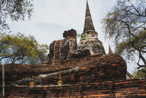 Canvas Boeddha The ruined Buddha Old Town, Ayutthaya Province,Thailand.