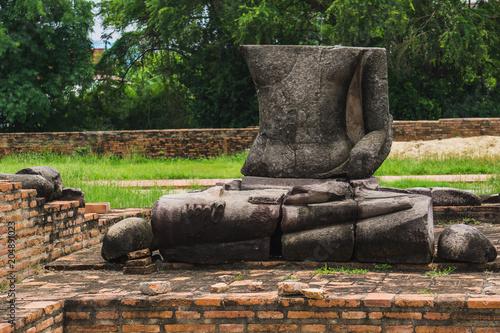 Plexiglas Boeddha The ruined Buddha Old Town, Ayutthaya Province,Thailand.